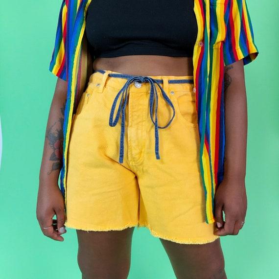 "90's Yellow Denim Cutoff Long Jean Shorts 32"" Mid Rise - Vintage Basic Frayed Denim Bermuda Shorts - Summer Casual Plain Bright NUOVO Shorts"