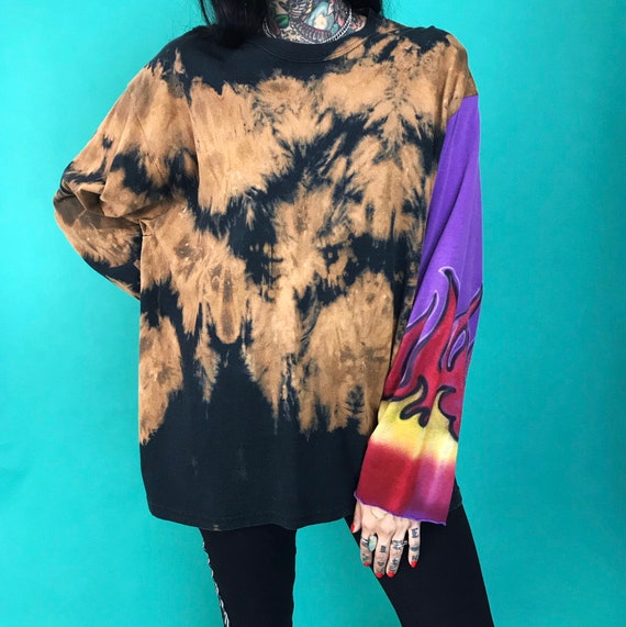 Upcycled Remade Tie Dye Bleach Long Sleeve Unisex T-Shirt Size Large - 90's Grunge Baggy One Off Airbrushed Flames Sleeve Hand Painted