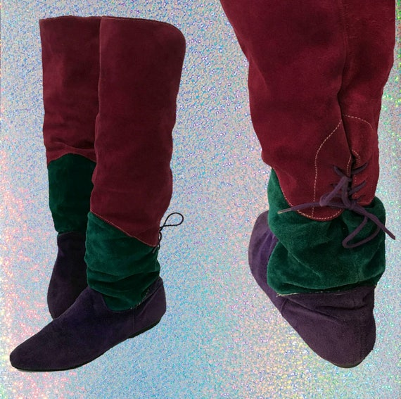 80s Suede Knee High Flat Trim Color Boots Size 7 - Pink Green Purple Leather Flat Slouchy Tall Boots -  Pointy Womens Renaissance VTG Boot