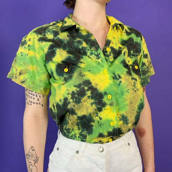 Tie Dye 90's Vintage Button Up Short Sleeve Top Medium - Hand Dyed Upcycled Camo Earth Tones Tie Dyed Green Dark Casual Everyday Collar Top