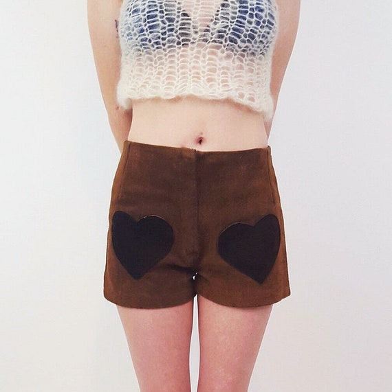 70s Vintage Small High Waist Brown Suede Shorts - 1970s Womens Spring Summer Short Shorts - Heart Pocket Unique Boho Retro Girly Shorts XS