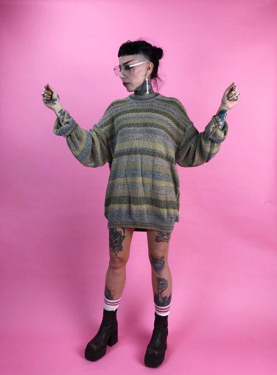 90 ' s pour homme copain rayée texturée copain homme tricot pull XL Plus taille cavalier - tons de terre fine horizontale ample rayé pull lin papy 74a9cf