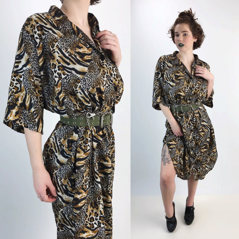 ba7d919ba12e 80's Long Leopard Print Button Up Shirt Dress One Size | Etsy