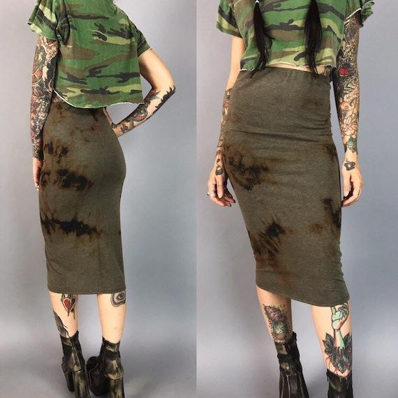 Black Tie Dye Cotton Midi Skirt High Waist Small - Bleach Grunge Dark Tie Dye Bodycon Tight Skirt - Black Brown Grunge Goth Form Fitting