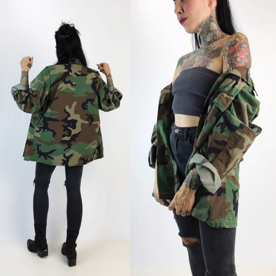 Vintage Military Camouflage Cargo Jacket Medium Unisex - Drab Army Everyday Jacket US Military VTG Uniform Outerwear - Baggy Camo Print Coat