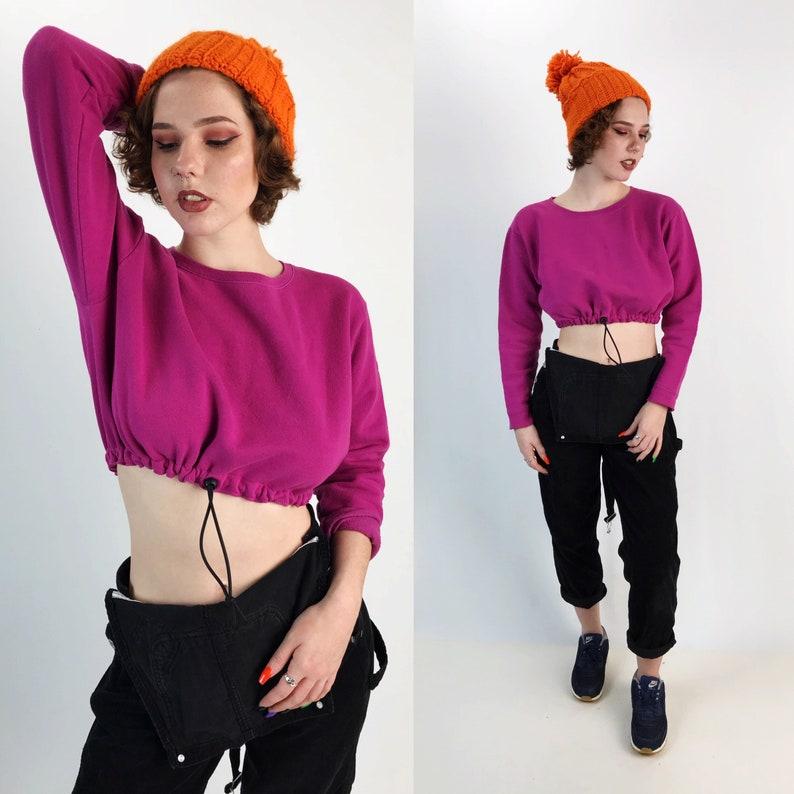 Womens Hot Pink Elastic Waist Long Sleeve Upcycled Remade Sporty Grunge Sweats Elastic Drawstring Waist Cropped Pullover Sweatshirt SM