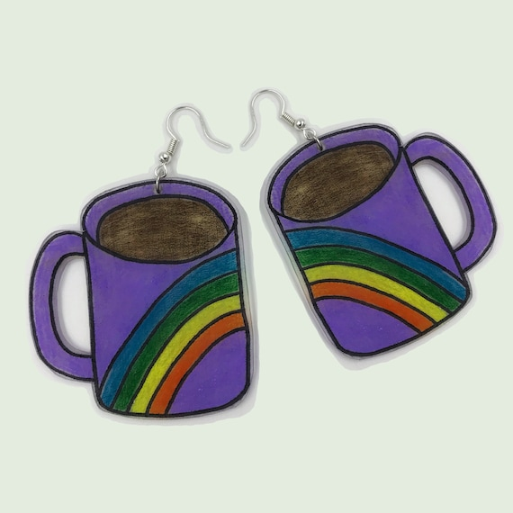 Rainbow Coffee Mug Shrinky Dink Earrings - Large Handmade Wearable Art Trend Plastic Jewelry Hand Drawn Funky Earrings - BIG Costume Jewelry