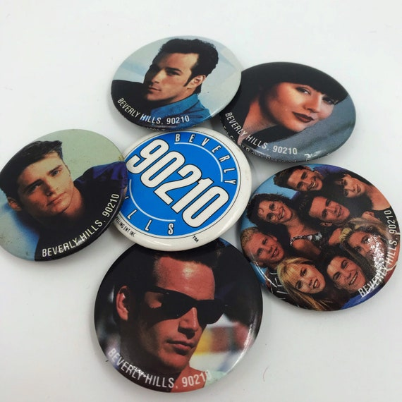 Vintage Beverly Hills 90210 6 Piece Pinback Button Set - Teen Drama Nineties TV Soap Oprah - Luke Perry Jason Priestley Shannon Dohertry