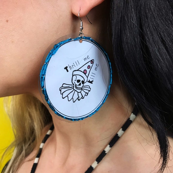 Handmade Sad CLOWN Vinyl Hand Stitched Trendy Statement Earrings - Weird Fun Hand Drawn Oversized Dangly Round Party Jewelry Disk Earrings