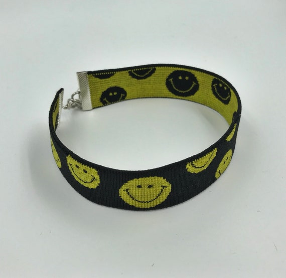 "Smiley Face Choker - 1"" Statement Choker Upcycled VTG Elastic Choker Necklace - Hippie Grunge Trend Recycled Accessory Happy Face Choker"