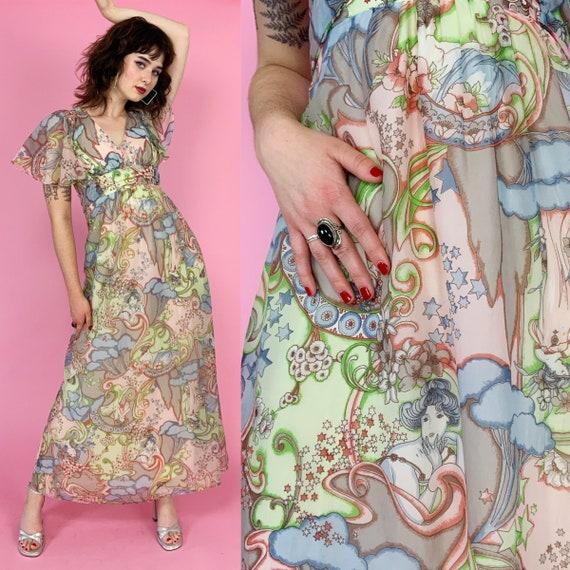 70's Fairy Print RETRO Vintage Formal Maxi Dress Small 4 - Rare Romantic Flouncy Flirty Sleeve Long Empire Waist Pastel Seventies Dress