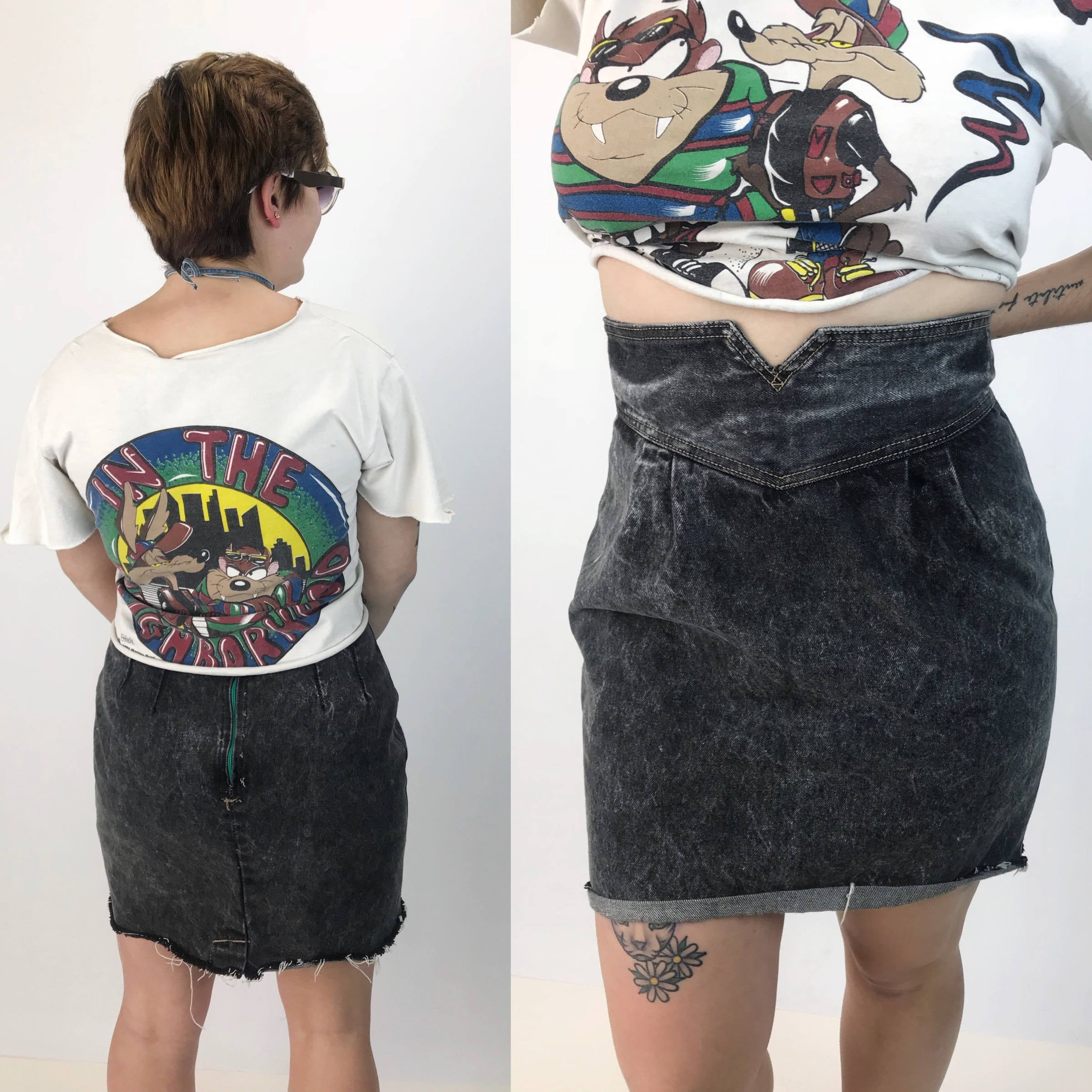35d0254d9a 80's Charcoal Black Denim Mini Skirt Medium 31