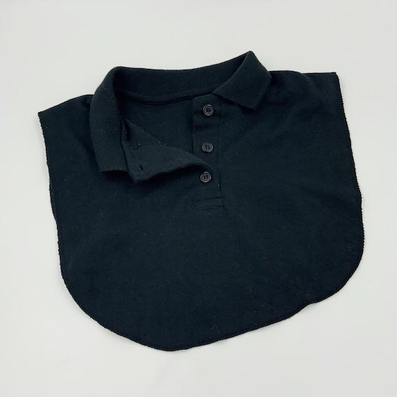 80s/90s Black Polo Collar Dickey One Size - Vintage Basic Preppy Under Shirt Layer - Bib Collar Only Fashion Accessory - Add On Collar