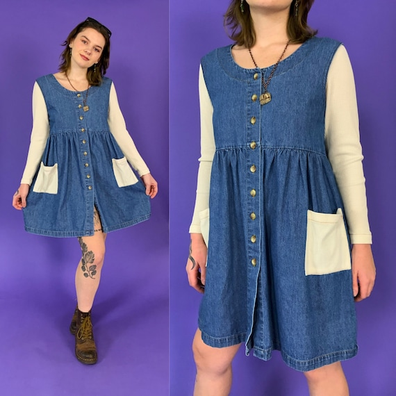 90's Long Sleeve Denim Mini Dress w/ Thermal Sleeves Medium US 6/8 - Vintage Button Front Fall Dress - Casual Cute Everyday Blue  Jean Dress