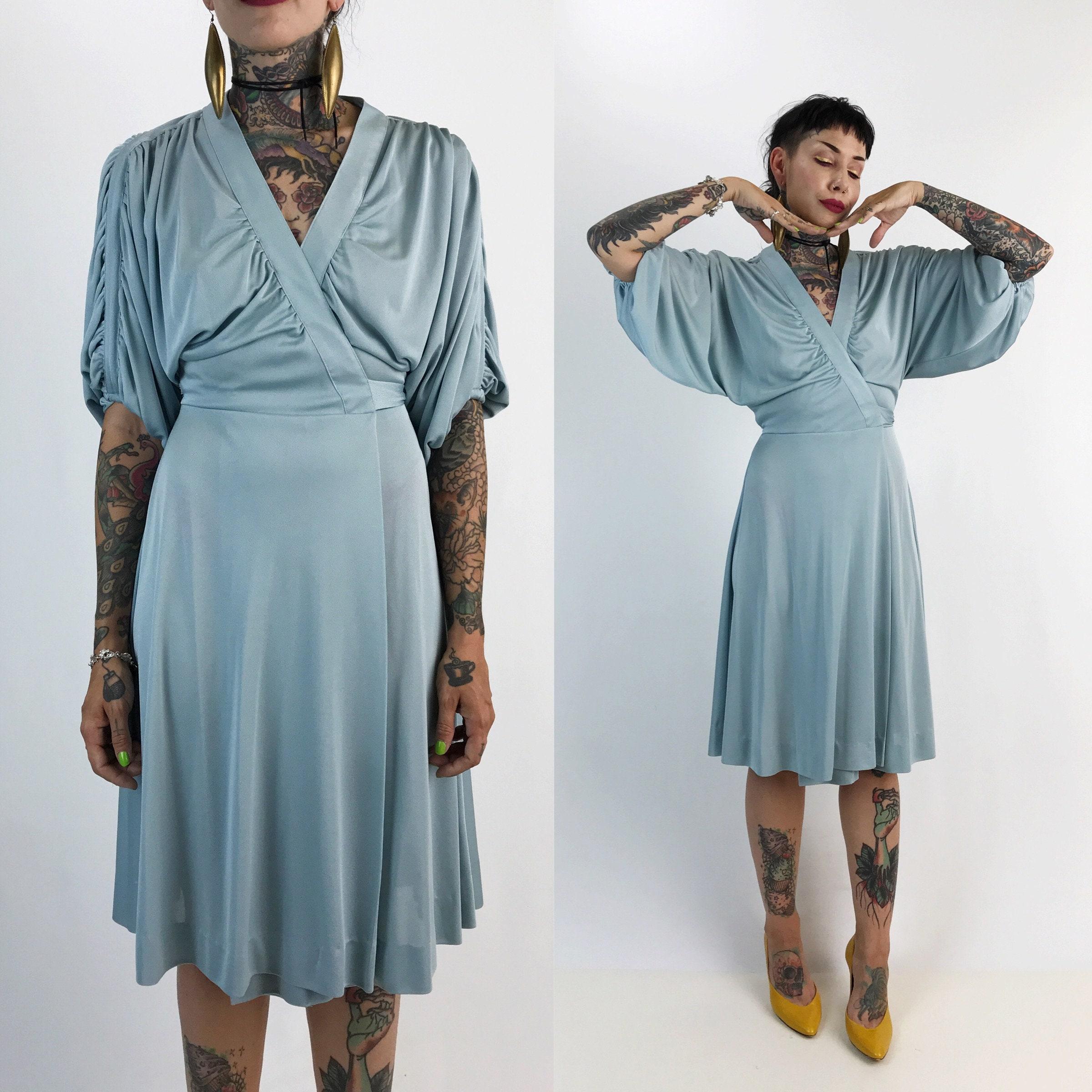 Powder Blue Knee Length Dress