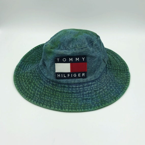 Tommy Hilfiger Patch Denim Bucket Sun Hat - Tie Dye Acid Wash Green Grunge Trendy Summer Hat - Upcycled Sporty Tommy Patched Sun Hat Unisex
