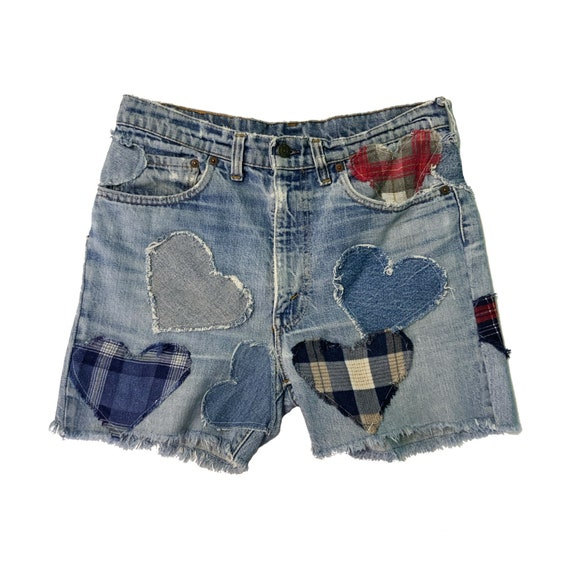 Vintage Upcycled Patched Plaid HEARTS Levi's 34 - Reworked Denim Cut Off Boyfriend Denim UNISEX Heart Patched Mixed Patterns LEVIS Shorts