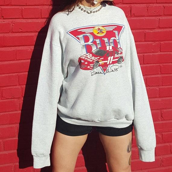 Budweiser NASCAR Sweatshirt Beer Logo Sweatshirt Large XL - 1992 Vintage Pullover Jumper - BUD Beer Long Sleeve Baggy Sweat Shirt Unisex