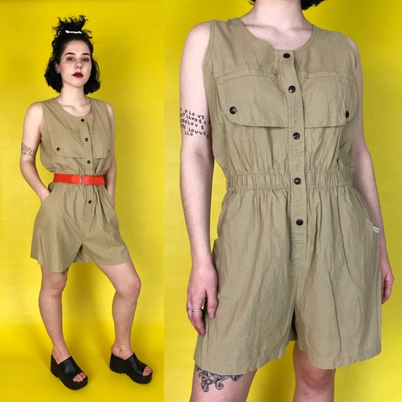 80's Vintage Tan Romper 5/6 - Shorts Safari Style Minimal Cargo Onesie Sleeveless Jumpsuit - Beige Tan Neutral Basic Classic Women's Jumper