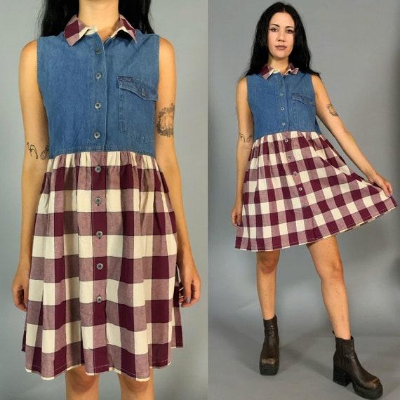 90's Denim Babydoll Mini Dress Medium US 8 - Sleeveless Plaid Button Front Casual Vintage DEADSTOCK Everyday Dress - Loose Fit Fall Dress