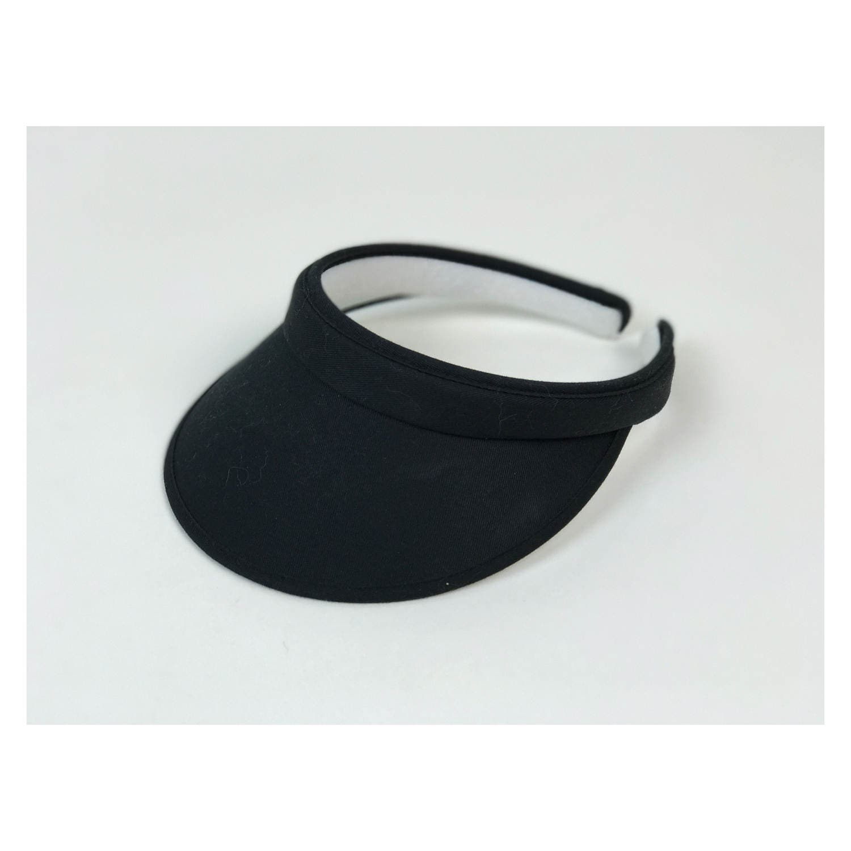 Black Basic Sun Visor Hat - 90 s Basic Tennis Hat Goth Grunge Open ... dd634e85b76