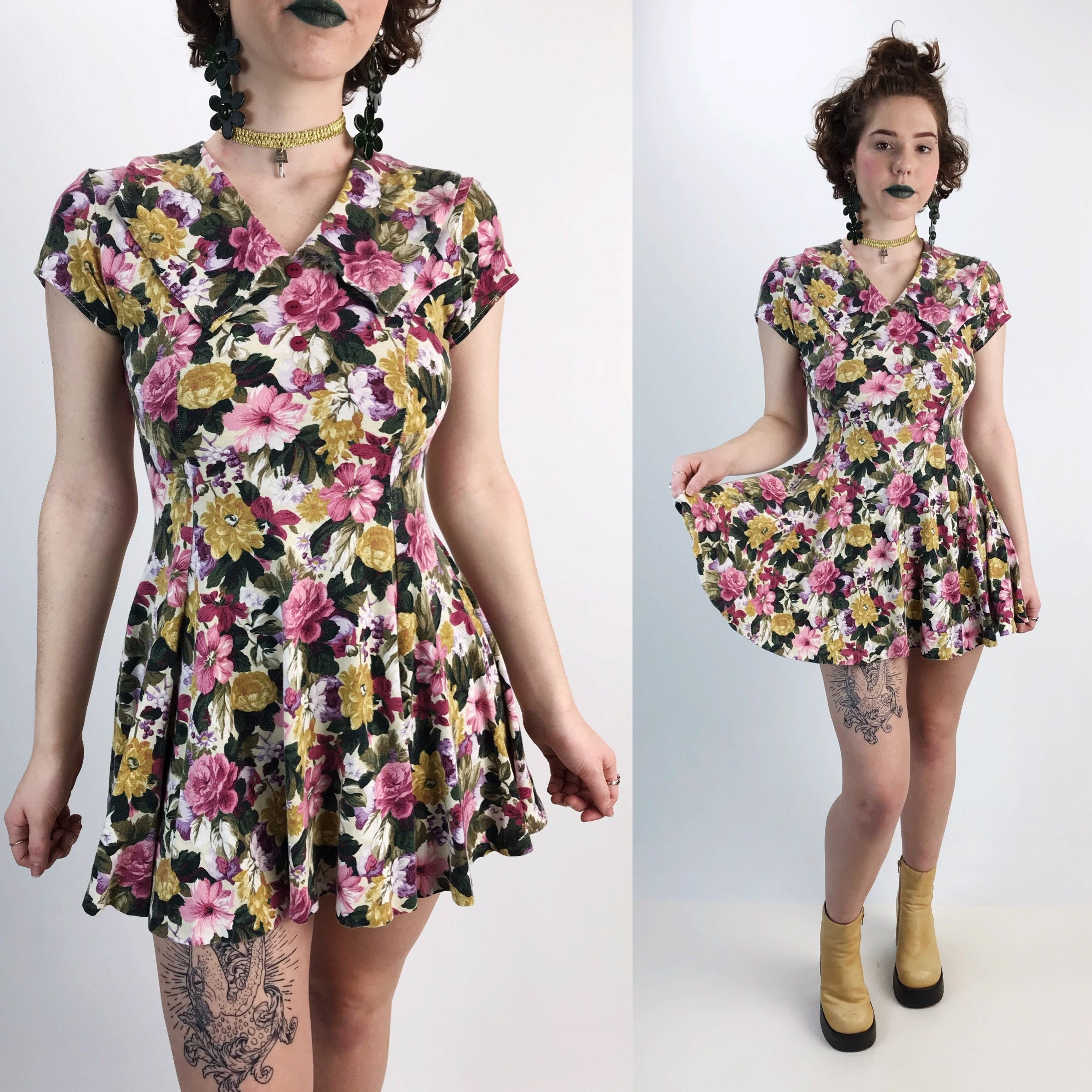 90 s Girly Floral Cotton Mini Dress Small - Pink Allover Print 1990 s  Preppy Romantic Cute Comfy Everyday Mini Date Skater Dress With Collar.  gallery photo ... d891d7710
