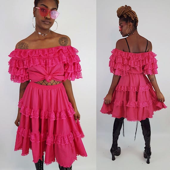 Vintage Ruffle Two Piece Top + Skirt Set Medium Large- Womens Ruffled Vtg Hot Pink Lolita Dress Coords 2 pc Set - Two Piece Matching Outfit