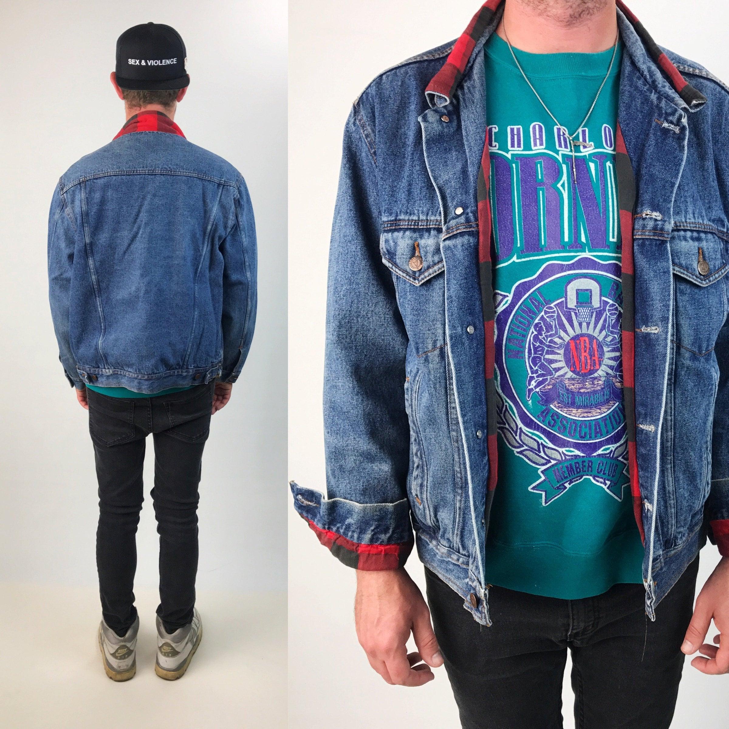 90 S Denim Jacket With Red Plaid Lining Xl Plus Soft Jean Jacket