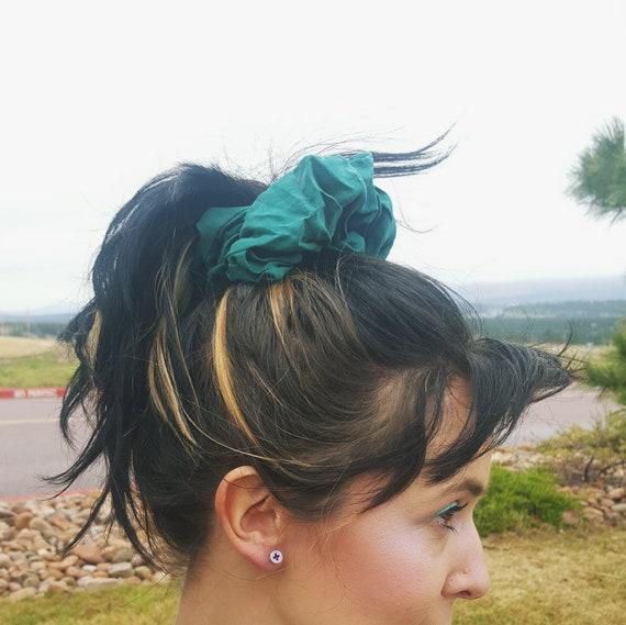Teal Silk Hair Scrunchie - 90s Vintage Hair Scrunchy Hair Tie - Turquoise Funky Hair Accessory Giant Elastic Puffy Hairtie