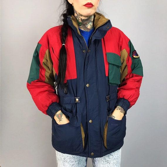 90's Vintage Multicolor Puffer Jacket XS - Color Block Puffy Ski Coat VTG Cargo Puffer Coat - Warm Snow Coat Trendy Nylon Winter Outerwear