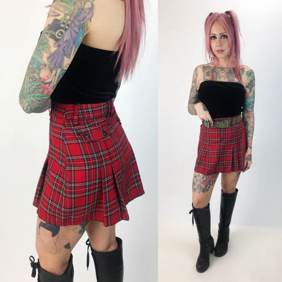 "90's High Waist Red Plaid Pleated Mini Skirt Small 27""- Punk Grunge Pleated Plaid Miniskirt - Red Black White Micro Mini Clueless Staple"
