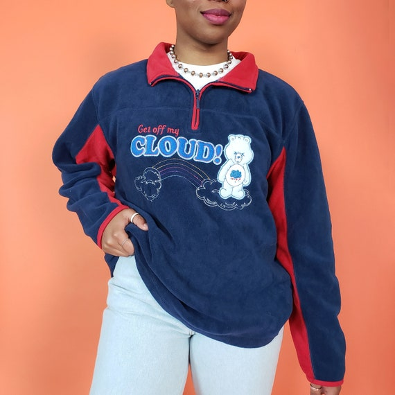 90s Get Off My CLOUD Fleece Pullover Sweater Womens Medium Large - Classic Cute Navy Blue Warm Fleece Jumper - Care Bears Cartoon Top