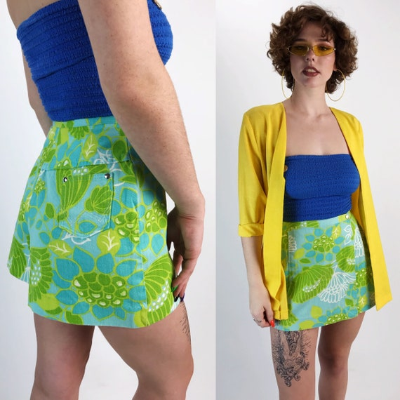 70's Wrangler Floral Denim Mini Skort Size 4 Small - High Waist Neon Green Yellow Allover Print Spring Miniskirt Shorts Wrap Skirt Small