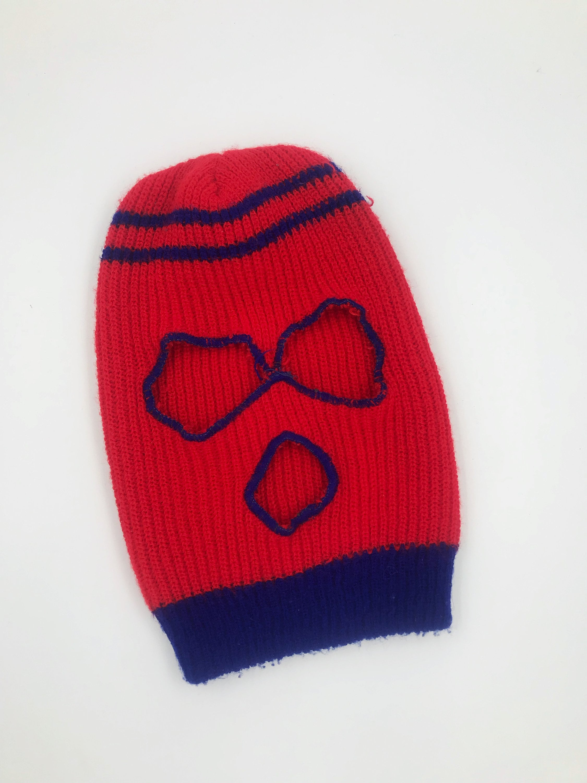 80s Ski Mask Full Face Winter Gear Red Blue Retro Face Mask Hat