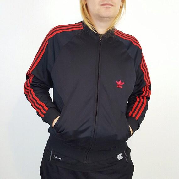 80s Vintage Adidas ATP Keyrolan Track Jacket - Large Black Red Stripe Sporty Athletic Windbreaker Jacket - Classic Trefoil Logo Streetwear