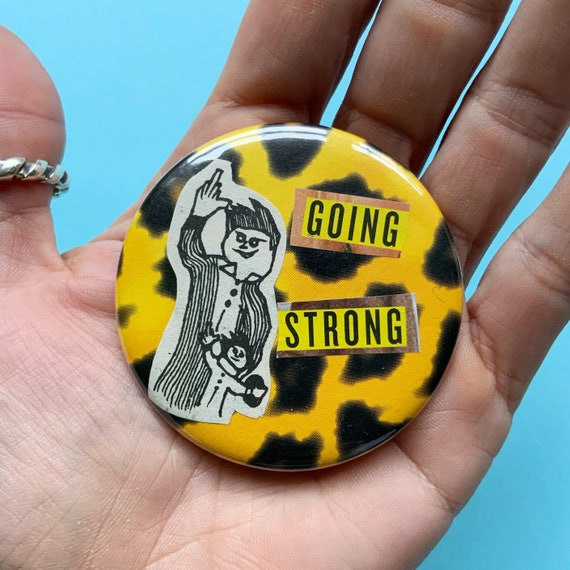 """2.25"""" Handmade Collaged Pinback Button - Big Large Upcycled Typography Pin - Punk Middle Finger Cheetah Print Unique Paper Craft Accessory"""