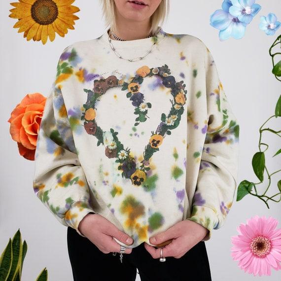 "Handmade Tie Dye ""Nature Lover"" Pullover Sweatshirt - Large Womens Tiedye Sweater - Earth Tone Dyed Baggy Longsleeve Unisex Sweater Top L"
