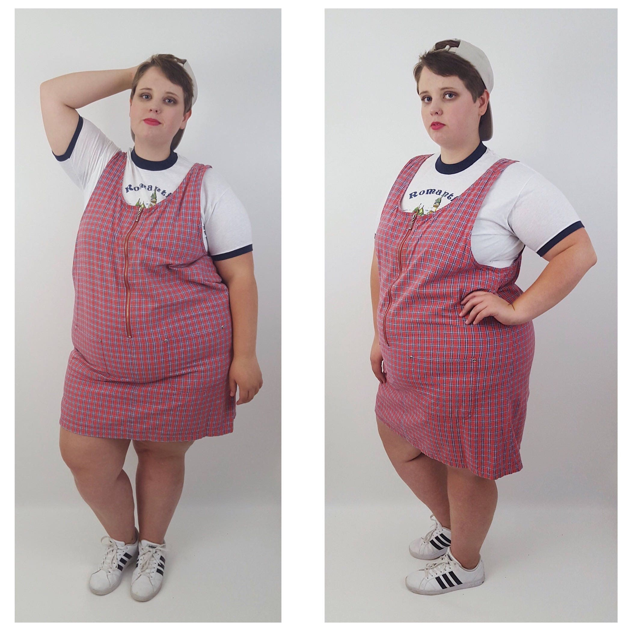 Vintage 90\'s Red White Blue Plaid Overall Dress 2X 3X -Plus Size ...