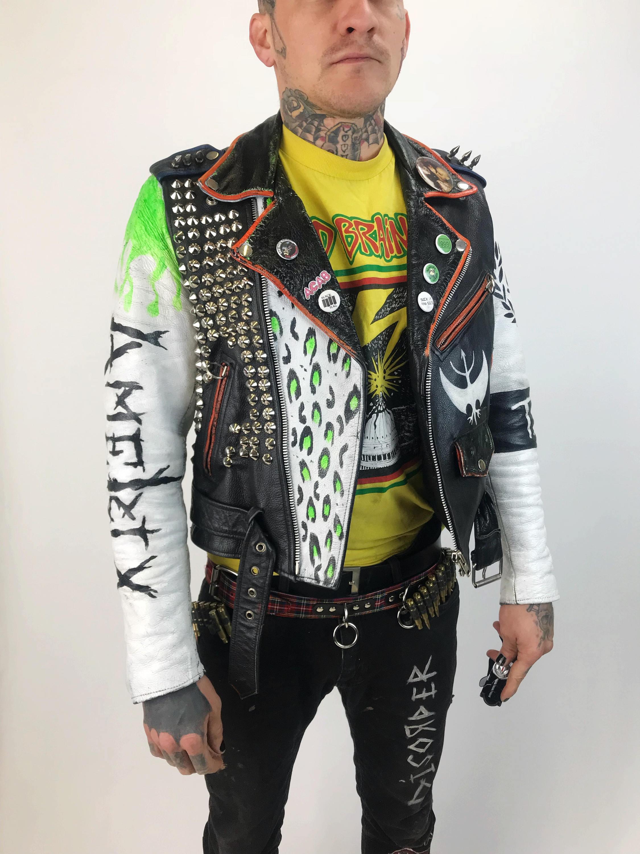 Studded Spiked White Leather Punk Jacket Mens 36 Vintage