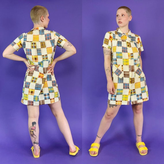 60's Vintage Patchwork Print House Dress Snap Fro… - image 4