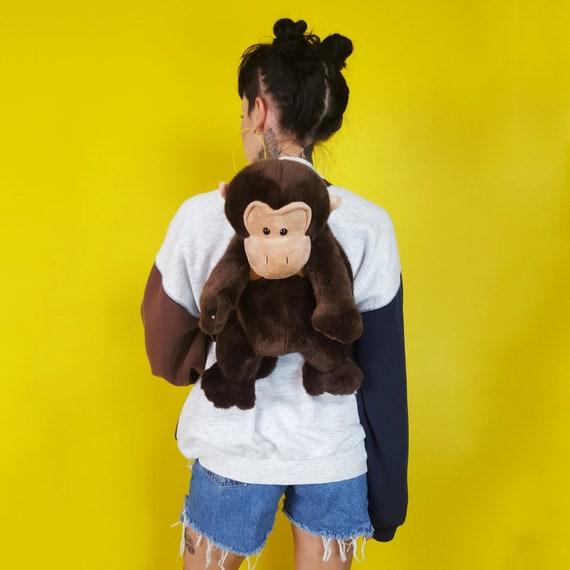 Mini Monkey Backpack Purse - CUTE Plush Stuffed Animal Purse - 90s Animal Backpack Kawaii Cute Plushie Mini Statement Purse