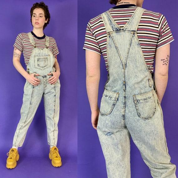 90's Acid Wash Denim Overalls Womens Small 4/6 - Tapered Leg VTG Casual Jean Pants Overalls Grunge Pinstripe Denim Suspender Jumpsuit