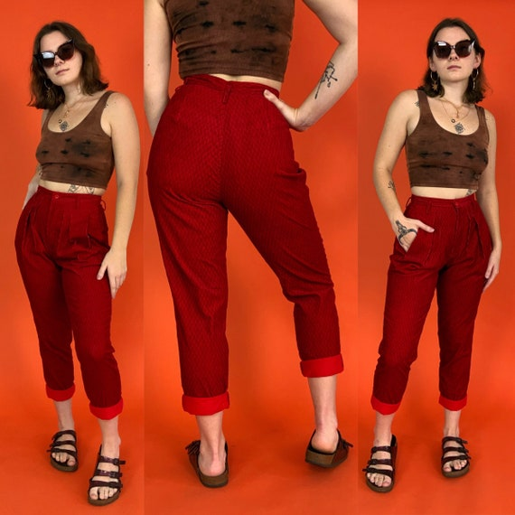 """90's Red Woven Trousers Size 27"""" High Waist - DEADSTOCK Tapered Leg Womens Pleated Casual Pants - Nineties Fall High Waist Textured Pants"""