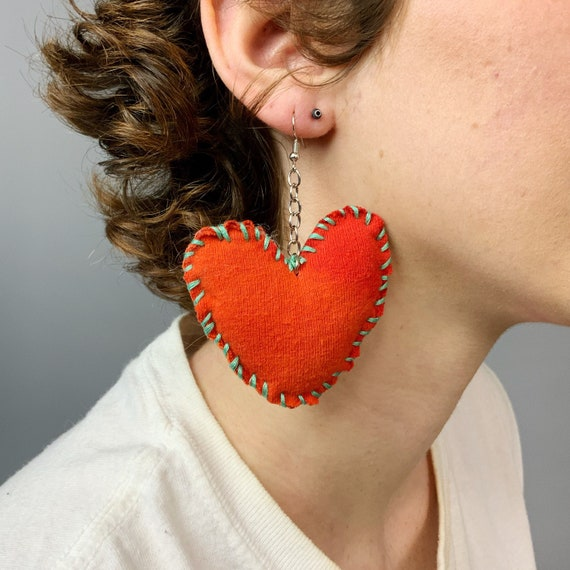 Hand Stitched Recycled Heart Plush Earrings - Handmade Big Statement Dangle Earrings Funky Cute DIY Unique Jewelry - Orange Heart Jewelry