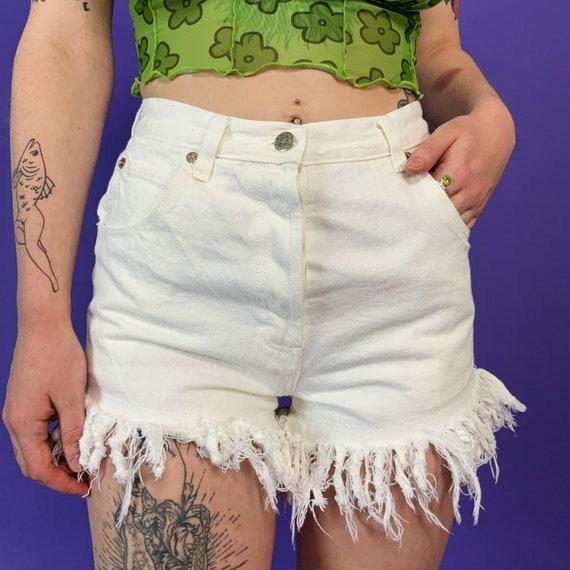 "90's White High Waist Frayed Jean Shorts Small 27"" High Waist - Basic Grunge Everyday Summer Denim Cut Offs - VTG Plain White Daisy Dukes"