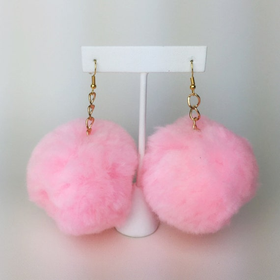 Pink Pom Pom Earrings Giant Furry Ball Earrings - Large Baby Pink Pastel Earrings Furry Jewelry - Baby Angel Baby Spice Pom Pom Earrings
