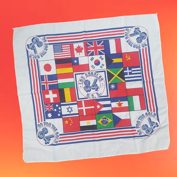 1984 Olympics Bandana Handkerchief - Square Sports Memorabilia Bandanna Scarf - White Multicolor Allover World Flag Pattern Vintage Scarf