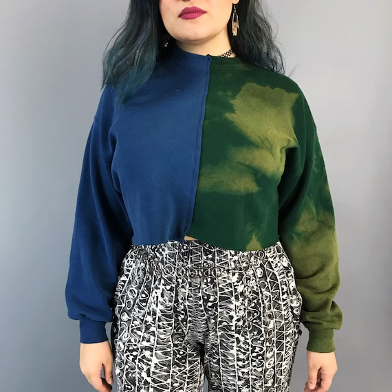 Reconstructed 2 Tone Cropped Pullover Sweatshirt Womens Medium - Remade Split Half & Half Mixed Colorblock Upcycled Dyed Bleached Streetwear