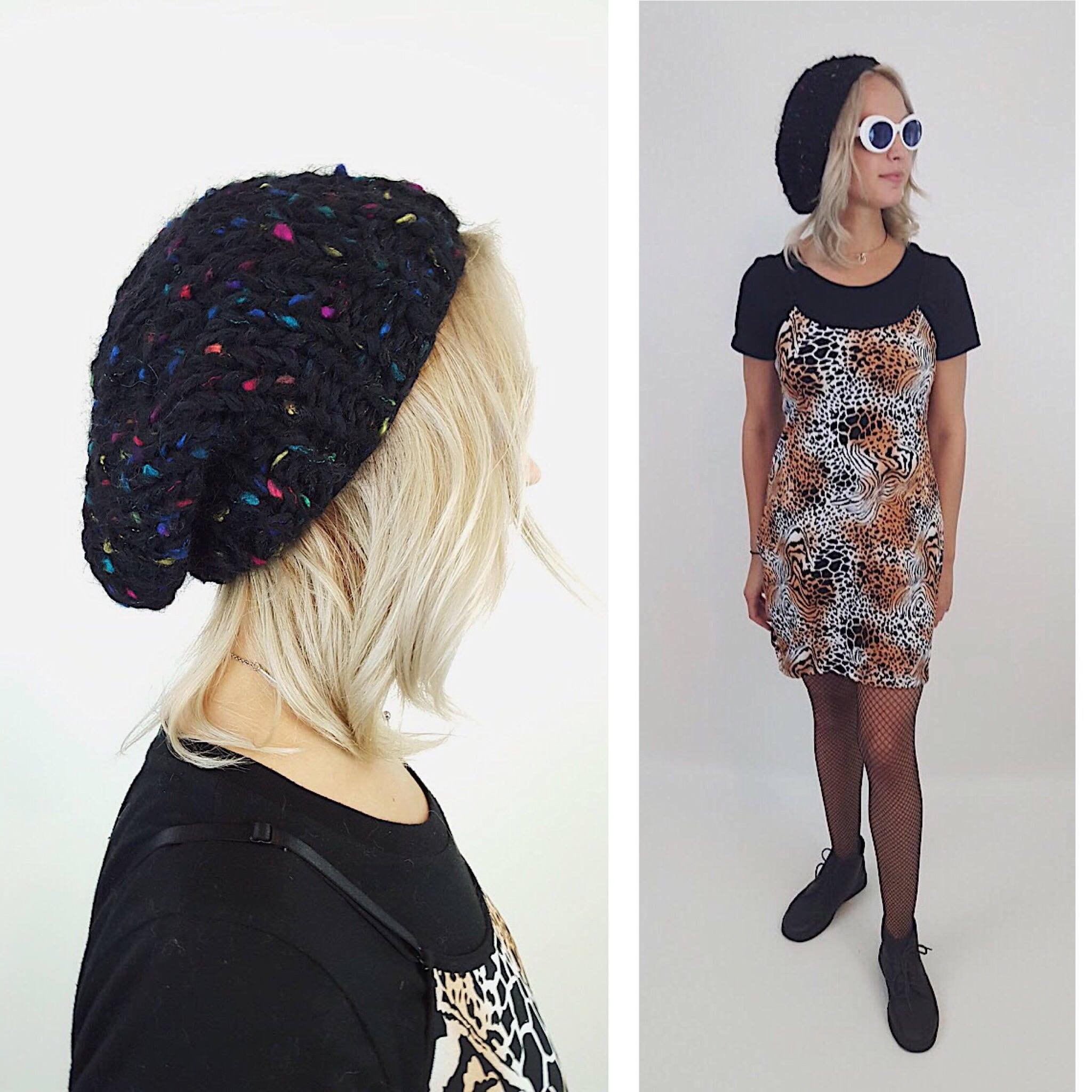 f1634cb1af97b Handknit Handmade Black Rainbow Slouchy Hat -Boho Hipster Fashion Style  Unique Womens Accessory - Soft Warm Winter Fall Upcycled Yarn Beanie.  gallery photo ...