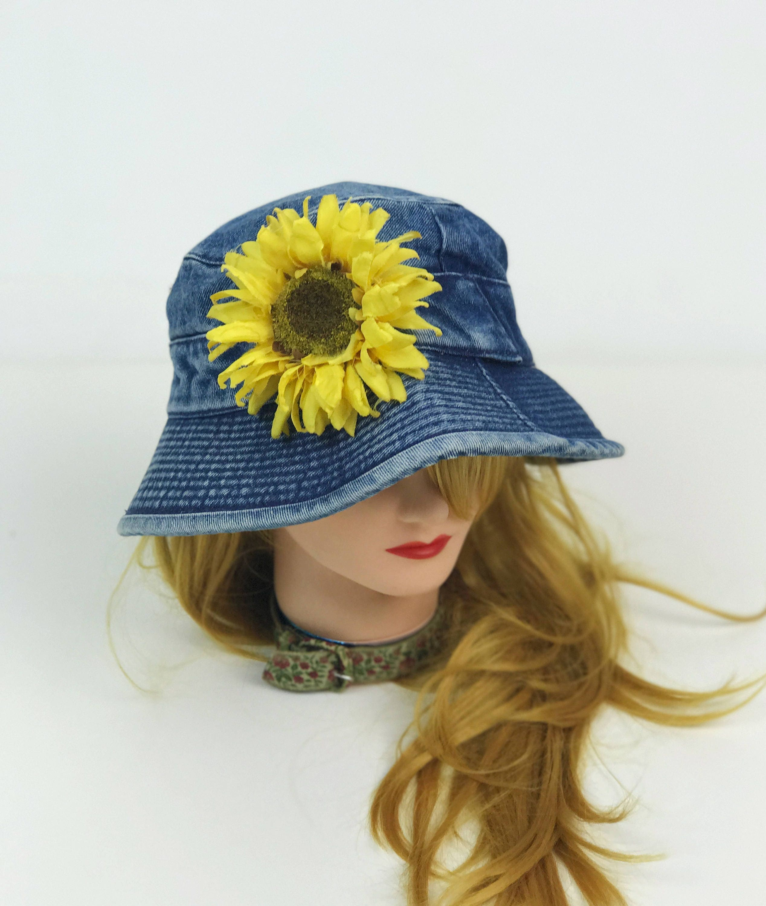 b238930de0ff2 90 s SUNFLOWER Denim Bucket Hat - Large Slouchy Sun Flower Hat ...